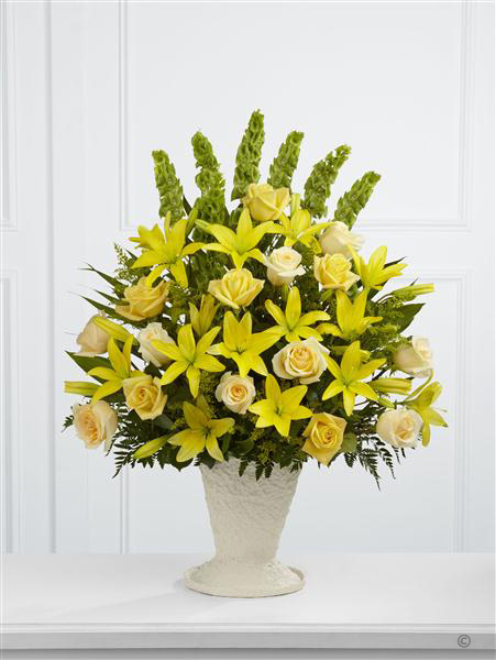 Extra Large Yellow Lily and Rose Service Arrangement